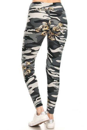 Wholesale Buttery Soft Charcoal Skull Camouflage High Waisted Leggings