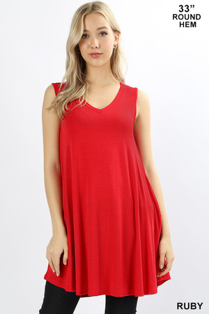Wholesale V-Neck Round Hem Sleeveless Rayon Top with Pockets