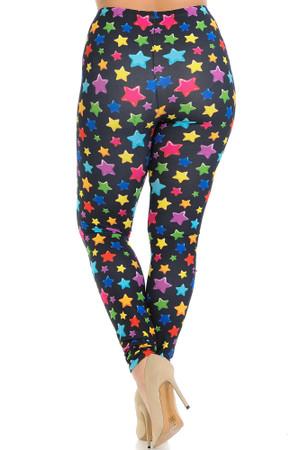 Wholesale Creamy Soft Colorful Cartoon Stars Plus Size Leggings - Signature Collection