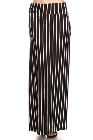 Wholesale Buttery Soft Black Pinstripe Maxi Skirt