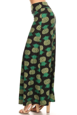 Wholesale Buttery Soft Green Pineapple Maxi Skirt