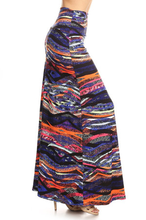 Wholesale Buttery Soft Color Bands Maxi Skirt