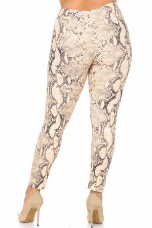 Wholesale Buttery Soft Cream Snakeskin Plus Size Leggings