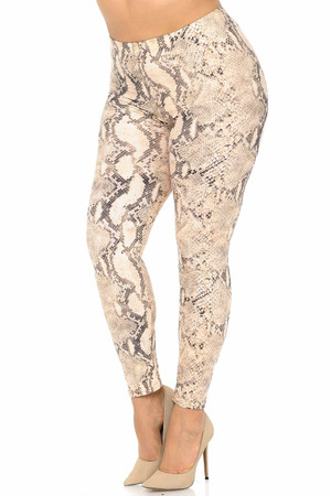Wholesale Buttery Soft Cream Snakeskin Extra Plus Size Leggings - 3X-5X