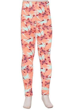 Wholesale Buttery Soft Peach Palm Trees Kids Leggings