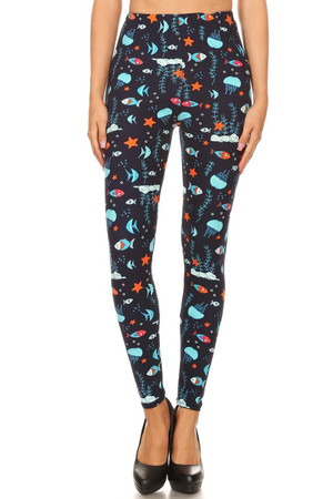 Wholesale Buttery Soft Oceans Alive Plus Size Leggings - 3X-5X