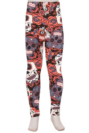 Wholesale Buttery Soft Crimson Sugar Skull Kids Leggings