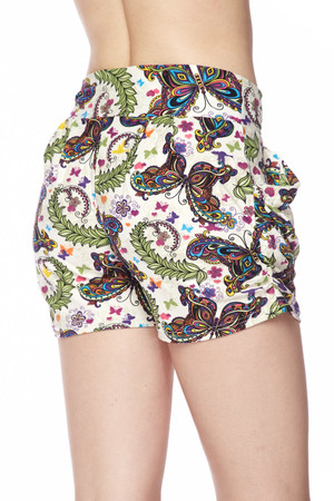 Wholesale Buttery Soft Dainty Ivory Butterfly Harem Shorts