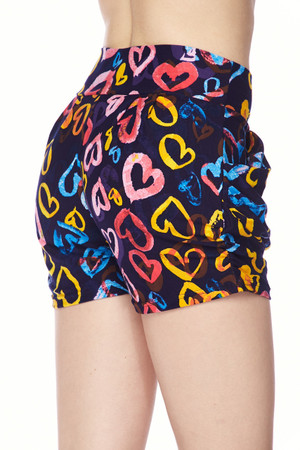 Wholesale Buttery Soft Colorful Watercolor Hearts Shorts