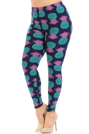 Wholesale Buttery Soft Teal Pineapple Plus Size Leggings - EEVEE