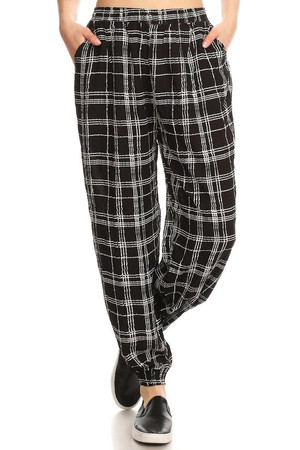Wholesale Essential Ebony Plaid Harem Leggings