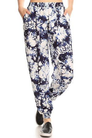 Wholesale Navy Marble Tie Dye Harem Leggings