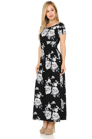 Wholesale Buttery Soft Short Sleeve White Rose Maxi Dress