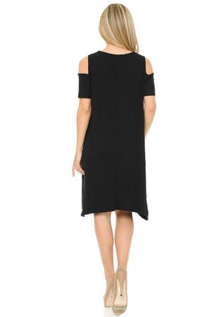 Wholesale Buttery Soft Cold Shoulder Basic Black Shift Dress