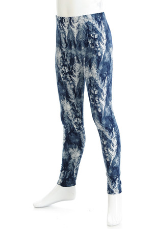Wholesale Buttery Soft Feather Blue Kids Leggings