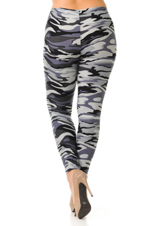 Wholesale Buttery Soft Monochrome Camouflage Plus Size Leggings - 3X-5X