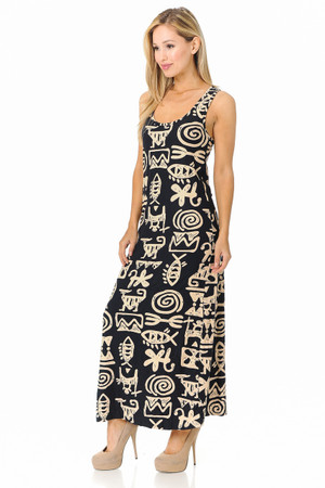 Wholesale Buttery Soft Elegant Tribal Symbols Maxi Dress - EEVEE