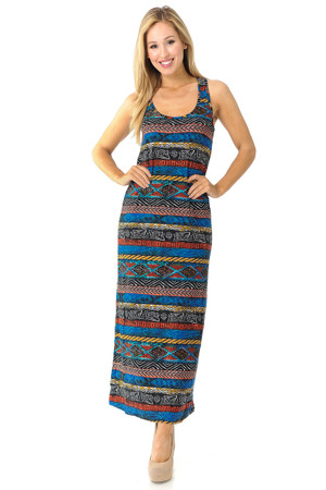 Wholesale Buttery Soft Colorful Tribal Maxi Dress - EEVEE