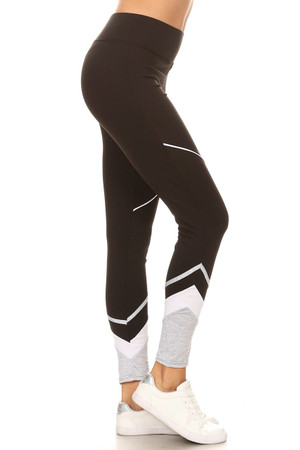Wholesale Multi Tone Ankle Contrast Sporty Workout Leggings