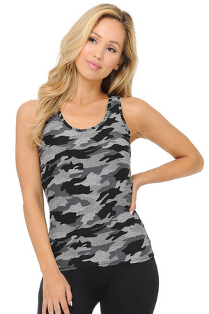 Wholesale Buttery Soft Charcoal Camouflage Women's Tank Top