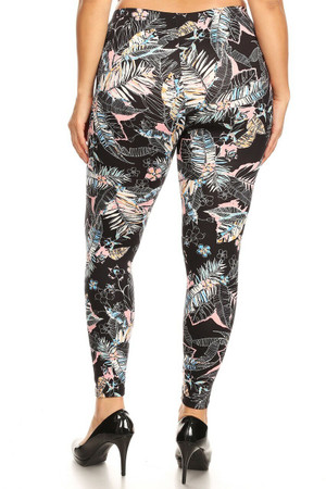 Wholesale Buttery Soft Pink Floral Tropics Plus Size Leggings