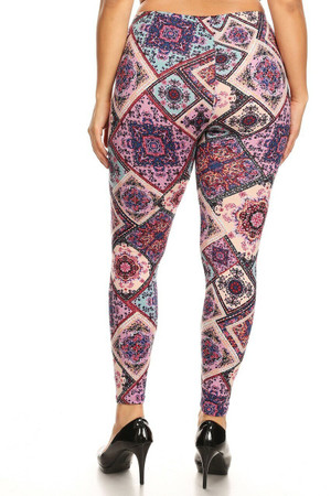 Wholesale Buttery Soft Pastel Patchwork Plus Size Leggings