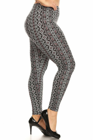 Wholesale Buttery Soft Vertical Paisley Brocade Plus Size Leggings