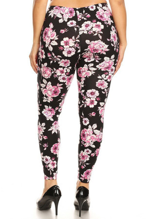 Wholesale Buttery Soft Decadent Pink Floral Plus Size Leggings