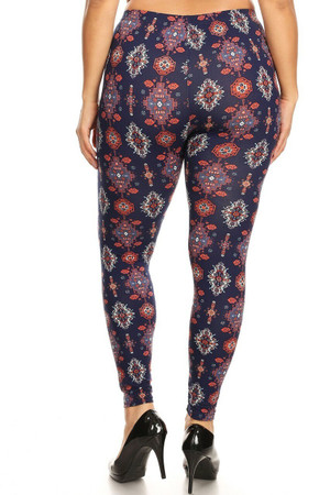 Wholesale Buttery Soft Vertical Mayan Mirage Floral Plus Size Leggings