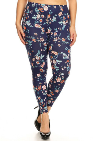Wholesale Buttery Soft Spring Asian Floral Plus Size Leggings