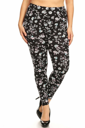 Wholesale Buttery Soft Ebony Spring Floral Plus Size Leggings