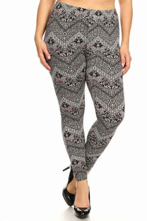 Wholesale Buttery Soft Ornate Chevron Plus Size Leggings