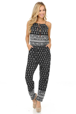 Wholesale Fashion Casual Ebony Floral Summer Jumpsuit