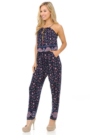 Wholesale Fashion Casual Magenta Motif Summer Jumpsuit
