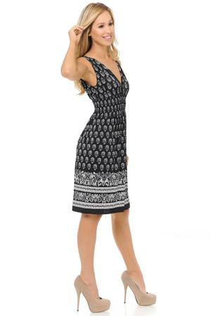 Wholesale Fashion Casual Ebony Floral Deep-V Summer Dress