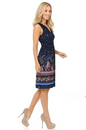 Wholesale Fashion Casual Paisley on Navy Deep-V Summer Dress