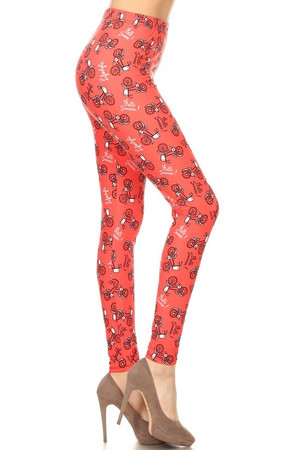 Wholesale Buttery Red Summertime Bicycles Plus Size Leggings