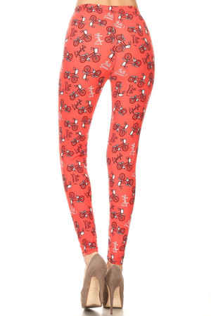 Wholesale Buttery Red Summertime Bicycles Plus Size Leggings - 3X-5X