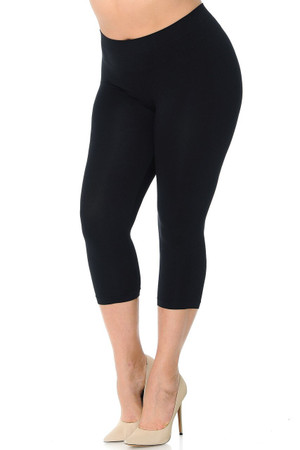 Wholesale Premium Nylon Spandex Solid Basic Plus Size Capris