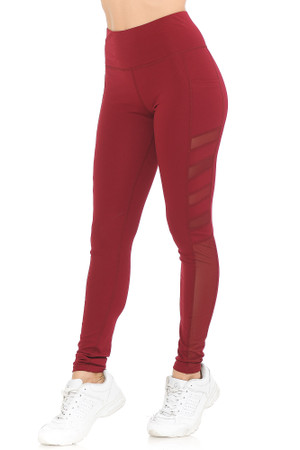Burgundy Wholesale Fluid Motion High Waisted Side Mesh Workout Leggings