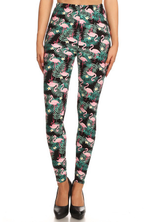 Wholesale Buttery Soft Palm Frond Flamingo Plus Size Leggings - 3X-5X