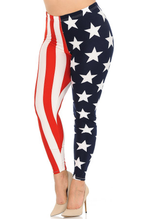 Wholesale Buttery Soft USA Split Flag Plus Size Leggings