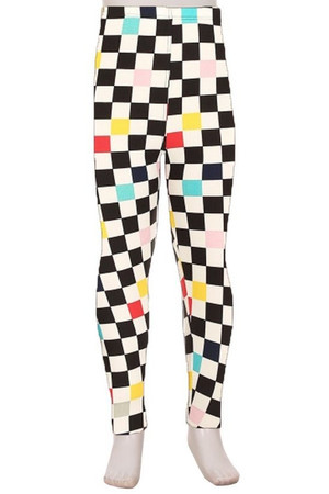 Wholesale Buttery Soft Color Accent Checkered Kids Leggings