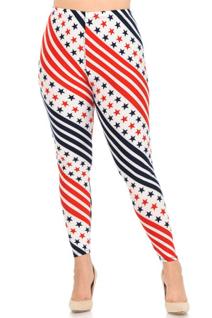 Wholesale Buttery Soft Swirling USA Flag Plus Size Leggings