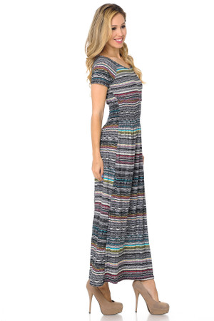 Wholesale Buttery Soft Short Sleeve Evermore Tribal Maxi Dress