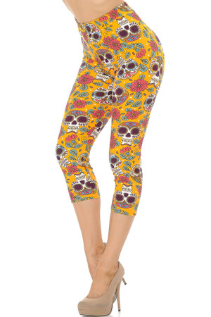 Wholesale Buttery Soft Mustard Summer Sugar Skull Capris