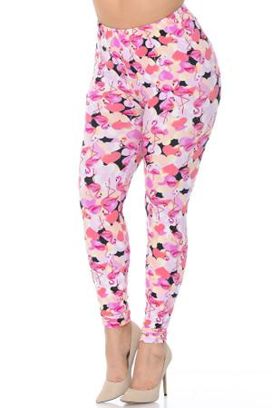 Wholesale Buttery Soft Gorgeous Pink Flamingos Plus Size Leggings