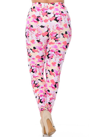 Wholesale Buttery Soft Gorgeous Pink Flamingos Plus Size Leggings - 3X-5X