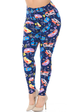 Wholesale Buttery Soft Retro Campers Extra Plus Size Leggings - 3X-5X