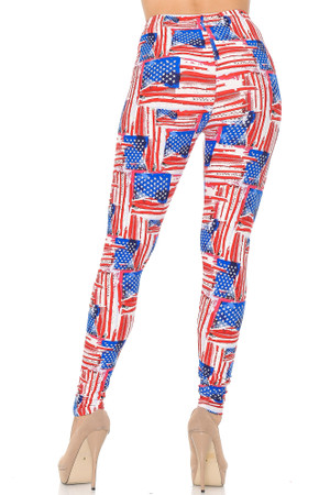 Wholesale Buttery Soft Watercolor USA Flag Plus Size Leggings